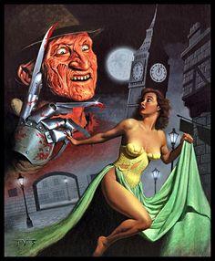 freddy krueger, london, nightmare, miles teves, vintage art, illustration