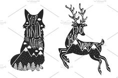 Deer and Fox typography set Graphics Vector hand drawn lettering illustration. Step inside the nature. Typography poster with fox, mounta by julymilks
