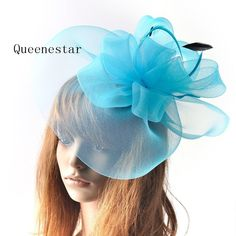 Cheap hair clip, Buy Quality wedding fascinator directly from China flower headdress Suppliers: New Large Blue Wedding Fascinator Hat Women Feather Headwear Hat Flower Headdress Elegant Ladies Derby Party Cocktail Hair Clips