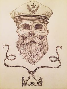 Another drawing of mine  Sailor, skull, and anchors tattoo idea ⚓️