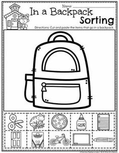 Sorting Worksheets for Preschool - All About Me and Back to School #preschoolactivities #planningplaytime #backtoschool #preschoolworksheets