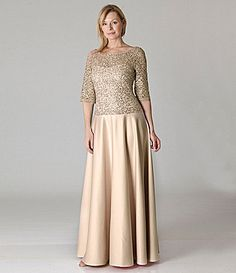 $264.0  JS Collections Lace Bodice Satin Gown