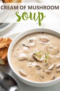 Creamy Mushroom Soup, Mushroom Soup Recipes, Easy Soup Recipes, Gourmet Recipes, Vegetarian Recipes, Cooking Recipes, Healthy Recipes, Homemade Mushroom Soup, Homemade Soup