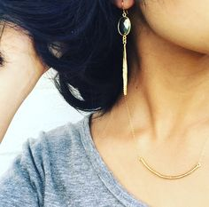 Gemstone Bar Earrings / JordanLovesJamesJewelry