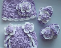 Crochet Baby Girl Handmade,Hat, Booties, diaper cover photo prop, infant,kids 10004 MADE TO ORDER