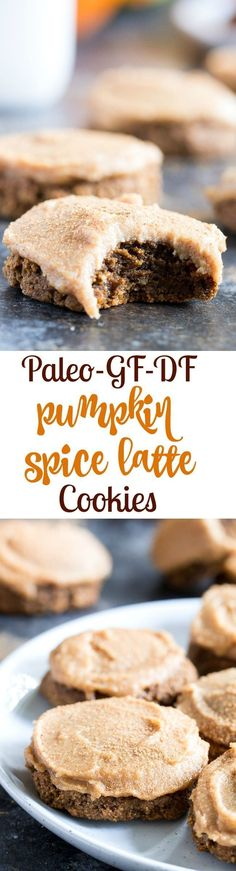 """These Paleo Pumpkin Spice Latte Cookies have lots of sweet spice and are topped with a maple cinnamon cashew """"cream cheese"""" frosting! Soft and chewy, gluten-free, dairy-free, vegan option"""