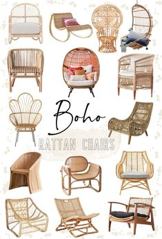 Rattan Furniture, Living Room Furniture, Rattan Chairs, Boho Living Room, Accent Chairs For Living Room, Estilo California, Lounges, Rattan Rocking Chair, Boho Lounge