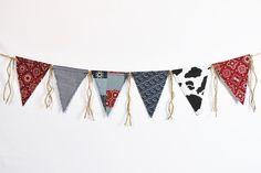 COWBOY/WESTERN Pennant Birthday Banner-Cowboy…