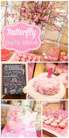 A butterfly girl birthday party with a rosette cake, chalkboard art and pretty pink party decorations!  See more party ideas at CatchMyParty.com!
