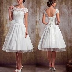 New Short Sleeve Tea Length Lace Wedding Dress Size 4 6 8 10 12 14 16 + Custom