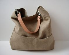 Bucket Tote, Hobo Tote, Linen Tote Bag, Natural, Beach Bag, Day Bag, Resort Tote, Summer Tote Bag, Jute-look Linen and Leather Bag for Women