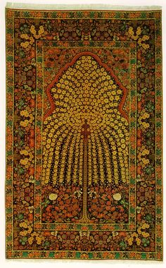 Kermani-style prayer rug with tree design, 1890. Wool http://www.persia.org/Images/Persian_Carpet/kerman_jpg2.html With optimal health often comes clarity of thought. Click now to visit my blog for your free fitness solutions!