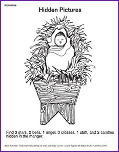 The Birth of Jesus - Activities for Teaching the Bible - BibleWise. Mazes, hidden pictures, much more. Bible Activities, Church Activities, Christmas Bible, Kids Christmas, Christmas Games, Sunday School Lessons, Sunday School Crafts, 3 Reyes, Hidden Pictures
