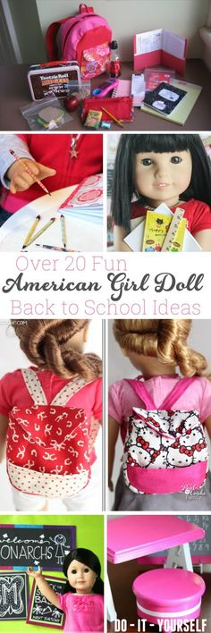 These are the best American Girl Back to School DIY ideas I have seen. There are over 20 ideas from crafts to food and outfits. Fun! #AmericanGirlDoll #AGDoll #Crafts #BacktoSchool #Sewing #Pattern #RealCoake