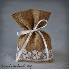 burlap with lace drawing bagShop for wedding favor bags on Etsy, the place to express your creativity through the buying and selling of handmade and vintage goods.Rustic Burlap Wedding Design and Home Decor by Teomil Wedding Favor Bags, Diy Wedding Favors, Wedding Gifts, Wedding Burlap, Chic Wedding, Wedding Candy, Trendy Wedding, Burlap Crafts, Diy Crafts