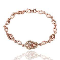 18K Rose Gold Plated Teardrops Crystal Accent Link Bracelet