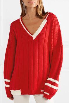 Miu Miu   Oversized striped ribbed wool sweater   NET-A-PORTER.COM
