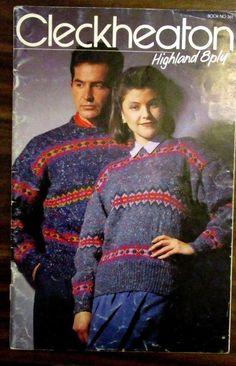 Cleckheaton Highland 8ply knitting pattern book no.361 male & female knits #Cleckheaton