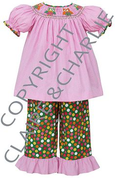 Claire and Charlie Girl's Smocked Owl Bishop Pant Set