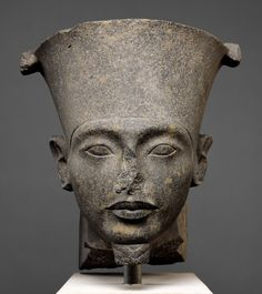 Head of the god Amun  Period: New Kingdom, post-Amarna Period Dynasty: Dynasty 18 Reign: reign of Tutankhamun Date: ca. 1336–1327 B.C. Geography: Probably from Upper Egypt, Thebes; From Egypt Medium: Granodiorite Dimensions: H. 44 cm (17 5/16 in.), W. 38.2 (15 1/16 in.); D. 41.5 (16 5/16 in.)