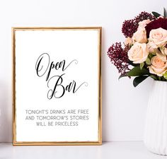 Bachelorette party decoration - Open bar sign printable (by My Color Mood Wedding)