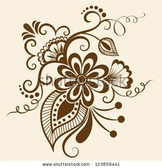 Vector abstract floral elements in indian mehndi style. Abstract floral vector illustration. Design element. by GarryKillian, via Shuttersto...