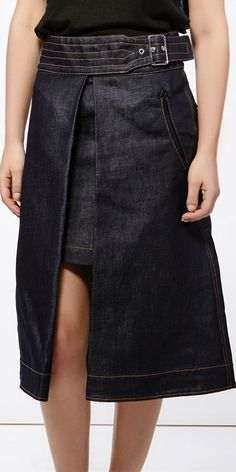 Sacai A-line open denim skirt
