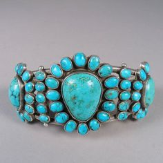 Cuff bracelet | Artist unknown (Zuni Pueblo). Sterling silver with turquoise. ca. 1920