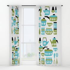 My Midcentury Modern Kitchen In Aqua and Avocado Blackout Curtain por sunnybunny – Curtains Vintage Kitchen Curtains, Bedroom Vintage, Vintage Toys 1970s, Vintage Tea Kettle, Red Kitchen, Kitchen Ideas, Mid Century Modern Kitchen, Scandinavian Kitchen, Paint Colors For Living Room
