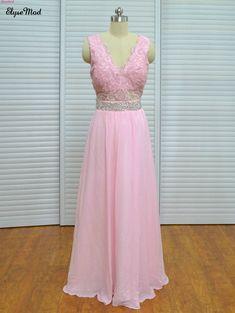 48b460f8530b Real Photo Pink brudtärna klänningar V-Neck Cap Sleeves Formell Party  Chiffon Gown Robe De