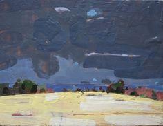 Original Encaustic Landscape Painting, Lake Ontario, April 26. $90.00, via Etsy.