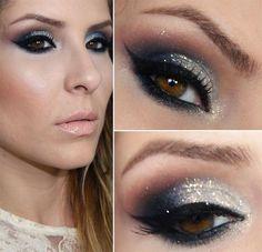 Inspiração de maquiagem para Natal e Ano Novo: maquiagem com glitter