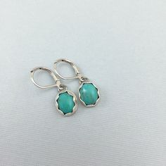 Platinum and Turquoise Drop Earrings Turquoise by LeafRiverJewelry, $39.00