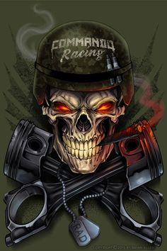Skeleton T-Shirt Designs for Commando Racing Gear - Dark Shirt - Ideas of Dark Shirt - Dark Illustrations T-Shirt & Album Cover Freelance Illustrator For Hire Skull Artwork, Skull Painting, Skull Tattoo Design, Skull Tattoos, Mascot Design, Logo Design, Hannya Maske, Tattoo Ideas, Skull Art