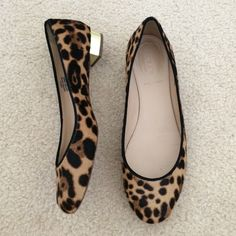 JCREW leopard gold heel size 8 Made in Italy JCREW flats with a gold heel (no scratches on gold heel) only signs of wear is a the bottom sole. Worn once in excellent condition retails for over $300. J. Crew Shoes