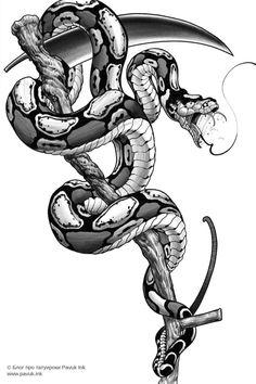 Snake Sketch, Snake Drawing, Snake Art, Badass Tattoos, Body Art Tattoos, Tattoo Sketches, Tattoo Drawings, Sketch Tattoo Design, Cobra Tattoo