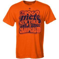 New York Mets Majestic Headline Celebration Throwback World Series Champs T- Shirt – Orange - 72a10cb54