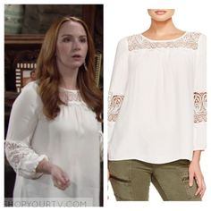 The Young and the Restless: May 2016 Mariah's White Embroidered Lace Top