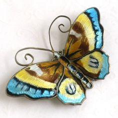 Vintage David Andersen Enameled Butterfly Brooch - Enamel Sterling Silver Butterfly