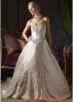 Klassisches Brautkleid A-Linie aus Satin mit Applikation online