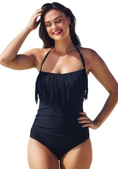 Feminine one-piece swimsuit has flirty and flattering fringe around the neckline and a removable halter strap for two style options. Full powermesh tummy-control lining instantly slims.  bandeau neckline with removable halter strap for additional support soft molded cup bra plush empire underband for full bust support side shirring conceals and flatters waist high back provides coverage and additional bust support nylon/spandex hand wash cold; imported
