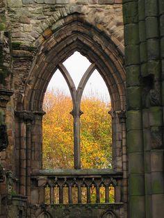 Holyrood Abbey with fall colors #Edinburgh