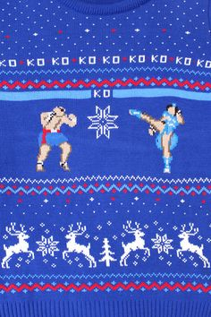 It's a Christmas Capcom clash of two of the biggest names in Street Fighter with this Official Capcom Knitted Street Fighter Sagat Vs. Chun Li Christmas Jumper! This retro gaming Christmas Jumper design features a face off between Chinese Chun Li and Thai boxer Sagat with a hint of festive frivolity.