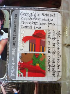 These are two tabs from GR's Advent calendar just zig zagged onto a Project Life card.
