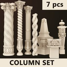 Model: Column Set 1 pcs) ~ Buy Now Classic House Design, House Front Design, Railing Design, Staircase Design, Tv Wall Design, Door Design, Classical Architecture, Architecture Details, Columns Decor