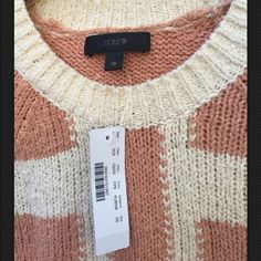 J.Crew Mixed Stripe Sweater NWT Peach White NEW Item details:  • Designer: J.Crew • Style name: Mixed Stripe Sweater {2015} • Color: Peach and off-white • Medium weight chunky cotton/linen/nylon blend  • Pullover styling  • Crew neck  • Ribbed trim along neckline, cuffs and bottom hem  • Semi-fitted • Hits at top of hips   • Brand new/ unworn with original retail tag still attached  • Good condition with no tears, pilling or stains  • Women's size XS   • 17 inches across bust • 23.5…