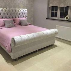A CROWN SLEIGH Crushed Velvet Bed House of Sparkles 1 Home Bedroom decor, Bedroom Silver grey crushed velvet bedroom House Bedro. Dream Bedroom, Home Bedroom, Bedroom Decor, Bedroom 2018, Girls Bedroom, Bedroom Ideas, Bedrooms, Elegant Home Decor, Elegant Homes