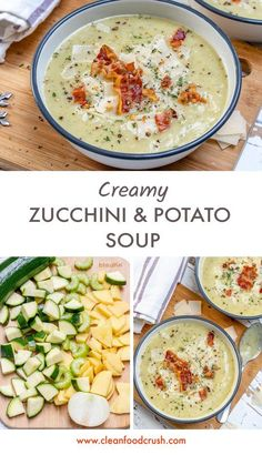 Clean, creamy zucchini and potato soup! Source by rachelmaser Related posts: Zucchini ravioli Creamy coriander-lime dressing for clean food Low-Carb Creamy Stuffed Chicken Peppers Vegetarian Soup, Healthy Soup, Vegetarian Recipes, Healthy Recipes, Veggie Recipes, Lunch Recipes, Healthy Snacks, Dinner Recipes, Clean Eating Recipes