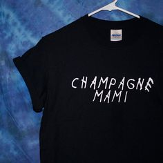 Champagne Mami Drake Inspired Tee Shirt ($14) ❤ liked on Polyvore featuring tops, t-shirts, cotton tee, print shirts, print tees, t shirt and off white shirt