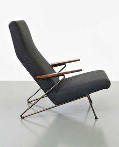 Koene Oberman; Enameled Iron and Oak Lounge Chair for Meubelindustrie Gelderland BV, 1956.